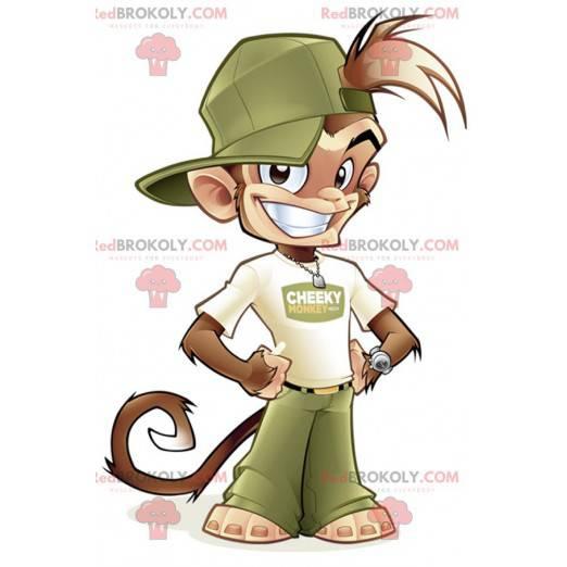Hnědá opice maskot v zelené a bílé oblečení - Redbrokoly.com