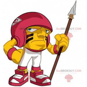 Maskot velké hlavy žlutého a červeného amerického fotbalu -