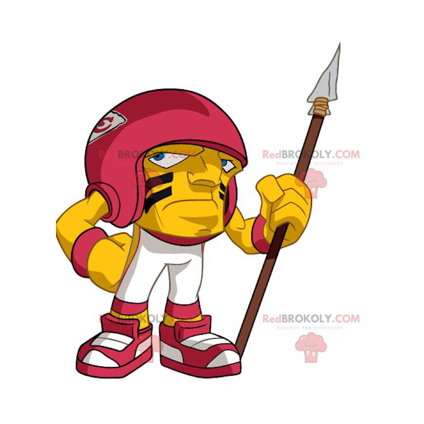 Yellow and red American footballer big head mascot -