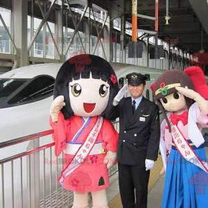 2 Maskottchen japanischer Manga-Mädchen - Redbrokoly.com