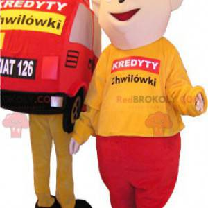 2 mascots 1 red and yellow car and a matching snowman -