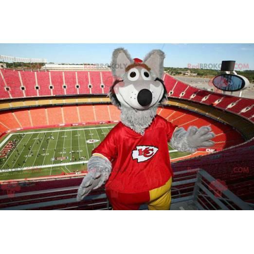 Gray wolf mascot dressed in red - Redbrokoly.com