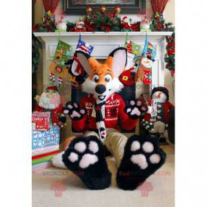 Orange and white fox mascot in Christmas outfit - Redbrokoly.com