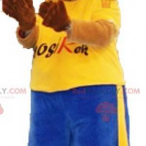 Großes Hundemaskottchen in Sportbekleidung mit Mütze -