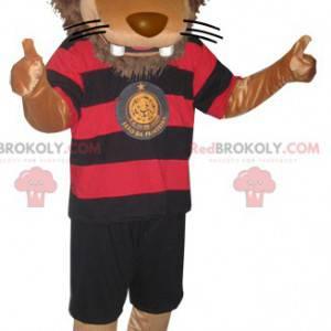 Velký maskot lva v černém a červeném sportovním oblečení -
