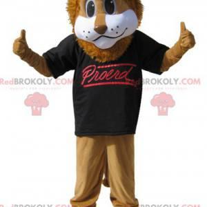 Maskot hnědý lev s černým tričkem - Redbrokoly.com