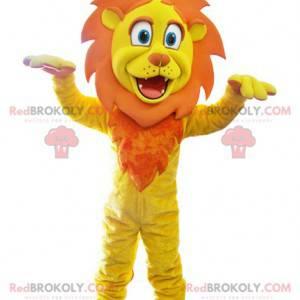 Žlutý a oranžový maskot lva s korunou - Redbrokoly.com