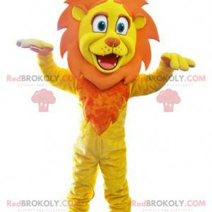 Yellow and orange lion mascot with a crown - Redbrokoly.com