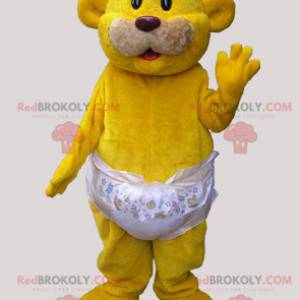 Žlutý medvěd maskot nosí plenku - Redbrokoly.com