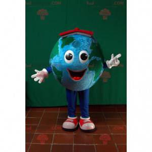 Giant planet earth mascot with a red hat - Redbrokoly.com