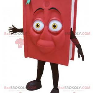 Maskot obří červená a černá kniha. Knižní kostým -