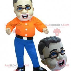 Skjegget mann maskot med briller - Redbrokoly.com
