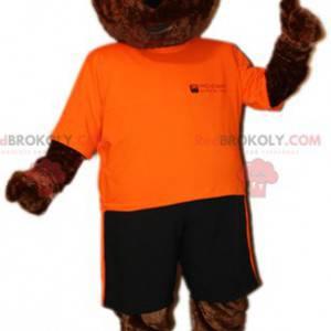 Medvěd hnědý maskot v oranžové a černé oblečení - Redbrokoly.com