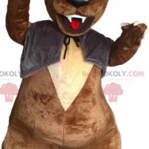 Brun bjørnemaskot med vest og hatt - Redbrokoly.com