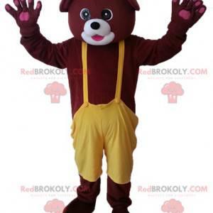 Maskot medvěd hnědý se žlutými kombinézy - Redbrokoly.com
