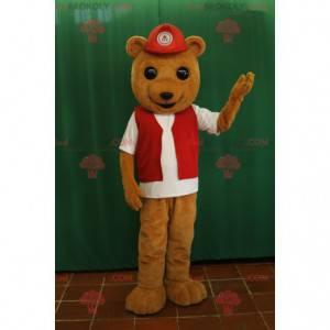 Maskot medvěd hnědý s červenou vestou a čepicí - Redbrokoly.com