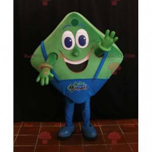 Zelený a modrý hranatý maskot vypadá zábavně - Redbrokoly.com