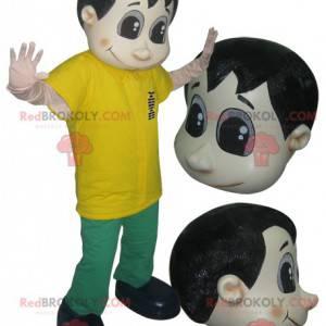 Maskotka mężczyzna ubrany na zielono i żółto - Redbrokoly.com