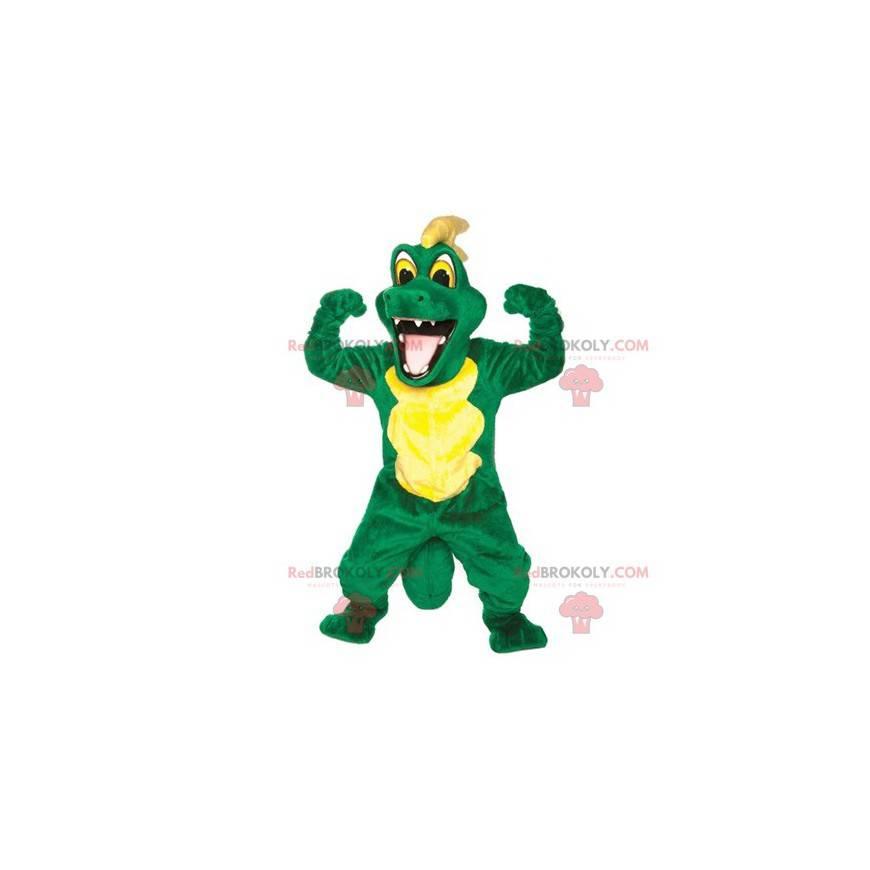 Grünes und gelbes Krokodilmaskottchen - Redbrokoly.com