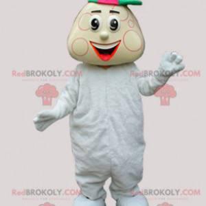 Chlapeček maskot v bílé babygros a čepici - Redbrokoly.com