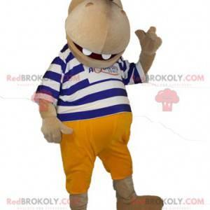 Mascote hipopótamo marrom em suéter listrado - Redbrokoly.com