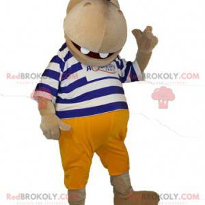 Maskot hnědý hroch v pruhovaném svetru - Redbrokoly.com