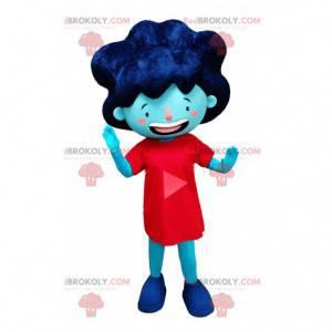 Maskot modrá dívka v červených šatech a velké vlasy -