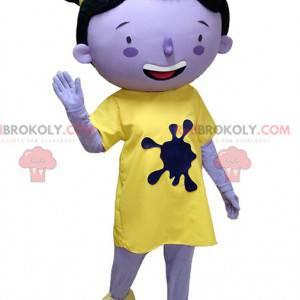 Maskot lilla jente i gult antrekk med boller - Redbrokoly.com