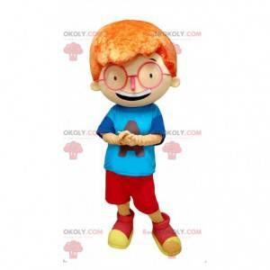 Rødhåret guttemaskot med store briller - Redbrokoly.com