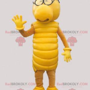 Gelbes Raupenmaskottchen. Gelbes Kreaturenmaskottchen. -