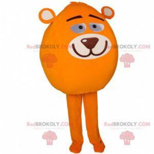 Kulatý maskot sněhuláka s hlavou medvídka - Redbrokoly.com