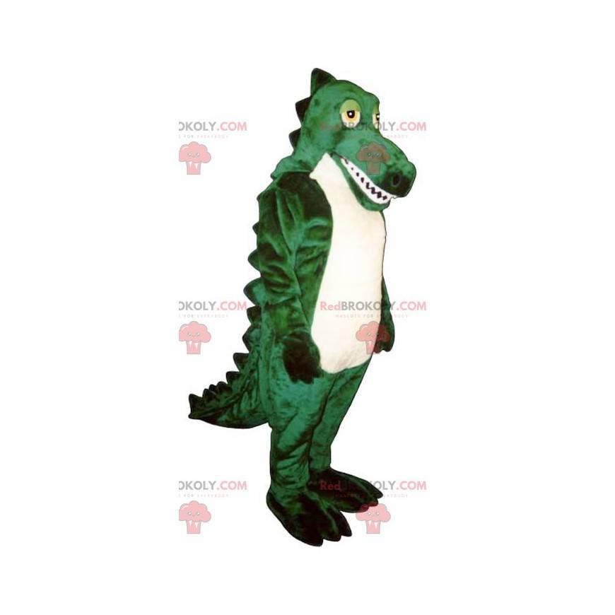 Zelený a bílý krokodýlí maskot - Redbrokoly.com