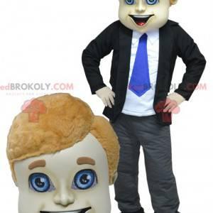 Kommerzielles Mannmaskottchen in Anzug und Krawatte -