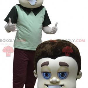 Maskottchen gut gekleideter brauner Mann mit blauen Augen -