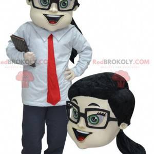 Obchodní žena maskot v obleku a kravatě - Redbrokoly.com