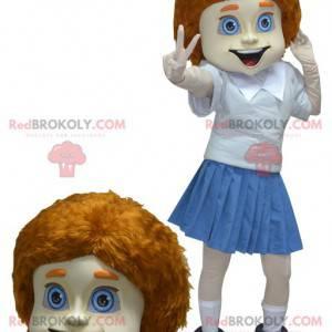Rothaariges Mädchen Schulmädchen Maskottchen in Uniform -