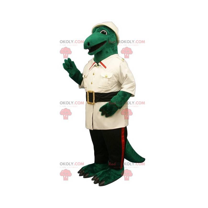 Green crocodile mascot dressed as an explorer - Redbrokoly.com