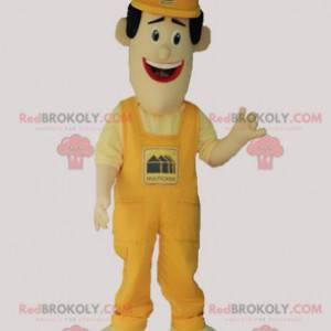 Mascot man in overalls and yellow cap - Redbrokoly.com
