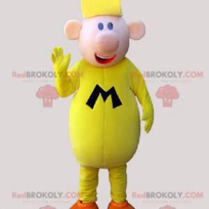 Velký žlutý muž maskot směje - Redbrokoly.com