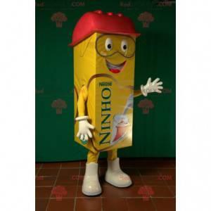 Maskotka gigantyczny żółty i czerwony karton mleka -