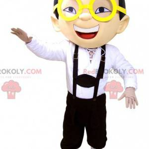 Mascot gutt i overalls briller og hatt - Redbrokoly.com