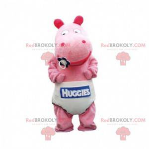 Baby lyserød flodhestmaskot med ble - Redbrokoly.com