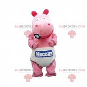 Mascote hipopótamo rosa bebê com uma fralda - Redbrokoly.com