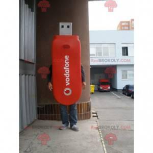 Riesiges rotes USB-Stick-Maskottchen. USB-Flash-Laufwerk Kostüm