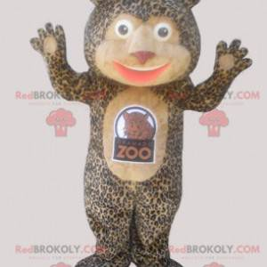 Teddy bear mascot with a leopard coat - Redbrokoly.com