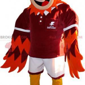 Rot-orange und gelbes Vogelmaskottchen - Redbrokoly.com