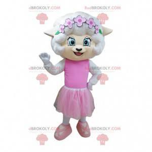 Maskot bílé myši oblečený jako tanečník - Redbrokoly.com