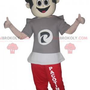 Teen chłopiec maskotka w joggingu i t-shirt - Redbrokoly.com