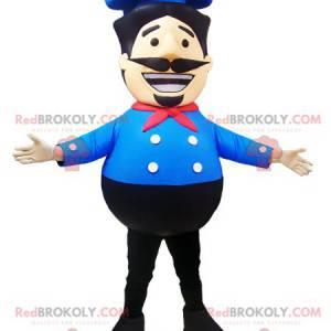 Maskot kuchař kuchař s modrou košili a čepici - Redbrokoly.com