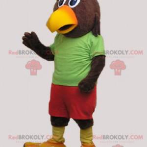 Maskot obří hnědý a žlutý pták - Redbrokoly.com